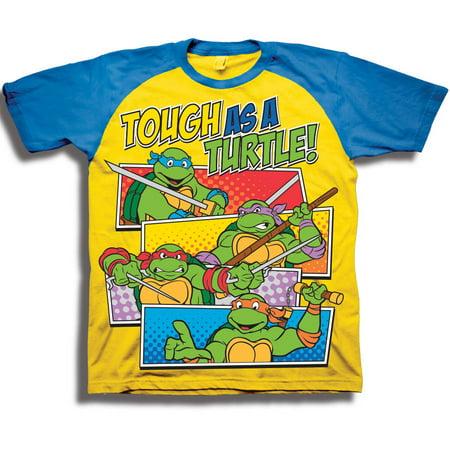 1cb81a942 Teenage Mutant Ninja Turtles - Toddler Boys' Tough As A Turtle! Short  Sleeve Raglan Two-Tone Graphic T-Shirt - Walmart.com