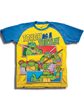 662d7cea87a Product Image Toddler Boys  Tough As A Turtle! Short Sleeve Raglan Two-Tone Graphic  T. Teenage Mutant Ninja Turtles