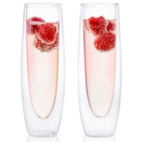 Epare Champagne Flutes - Set of 2 - Stemless Sparkling Wine Glasses - Wine Flute - Great For Weddings and Bridal Showers