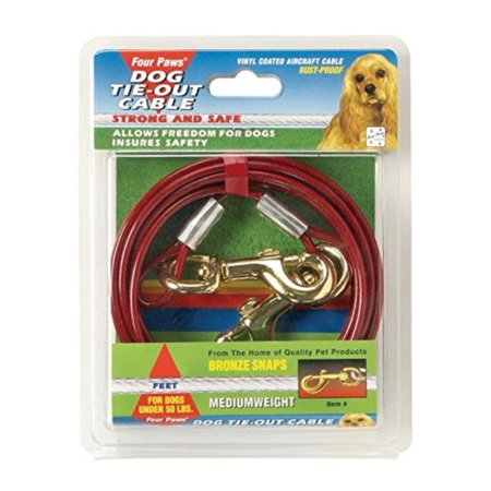 Red 15 Foot Medium Weight Dog Tie Out Cable, Four Paws tie-out cables help keep dogs secure while giving them room to roam By Four Paws