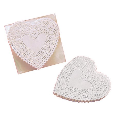 School Smart Paper Die-Cut Heart Lace Doily, 4 Inches, White, Pack of 100](Bulk Paper Doilies)