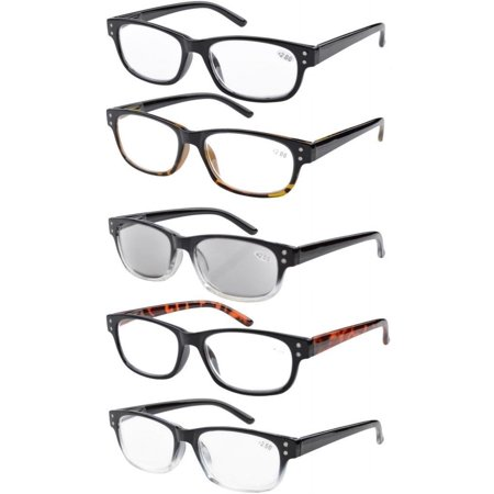 5a1a4a9e37f5 5-Pack Spring-loaded Hinges Vintage Reading Glasses Includes Sun ...
