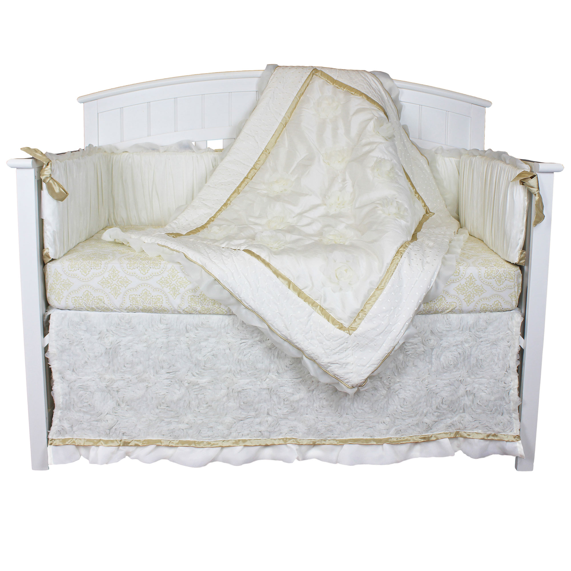 The Peanut Shell Crib Bedding Set - White, Ivory and Gold - Juliet Baby Girl Crib Bedding 5 Piece Collection with Bumper