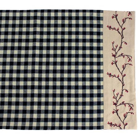 Berry Vine Check Table Runner Barn Red or Black