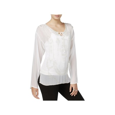 Fair Child Womens Sheer Beaded Blouse White