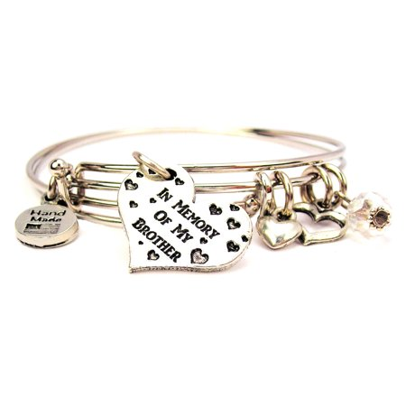 In Memory Of My Brother Expandable Bangle Bracelet Set, Fits 7.5