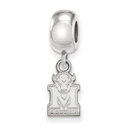 Marshall University Charm (925 Silver Rhodium-plated Laser-cut Marshall University XS Dangle Bead)