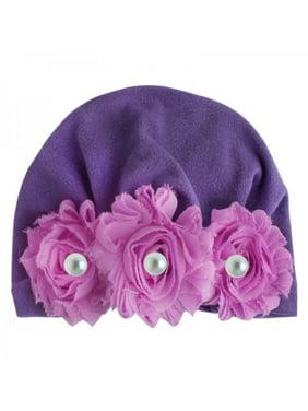 Topumt Newborn Baby Sun Flower Floral Pearl Caps Girls Turban Elastic Hat