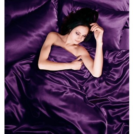 Todd Linens Sexy Satin Sheets 6 Pcs Bedding Set 1 Duvet Cover + 1 Fitted Sheet + 4 Pillow Cases (Many Colors) Purple King ()