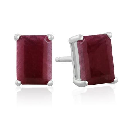 2 1 4ct Emerald Cut Indian Ruby Earrings In Sterling Silver
