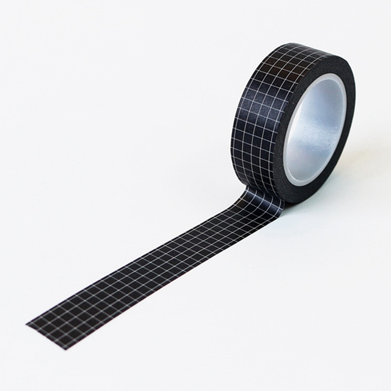 JYEMDV 10M Black and White Grid Washi Tape DIY Planner Masking Tape Adhesive Tapes Stickers Decorative Stationery Tapes Office Supplies Color : Black