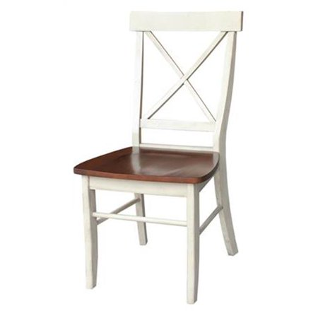 International Concepts White Wood  X-Back Chair With Solid Wood Seat, Antiqued Almond & Espresso