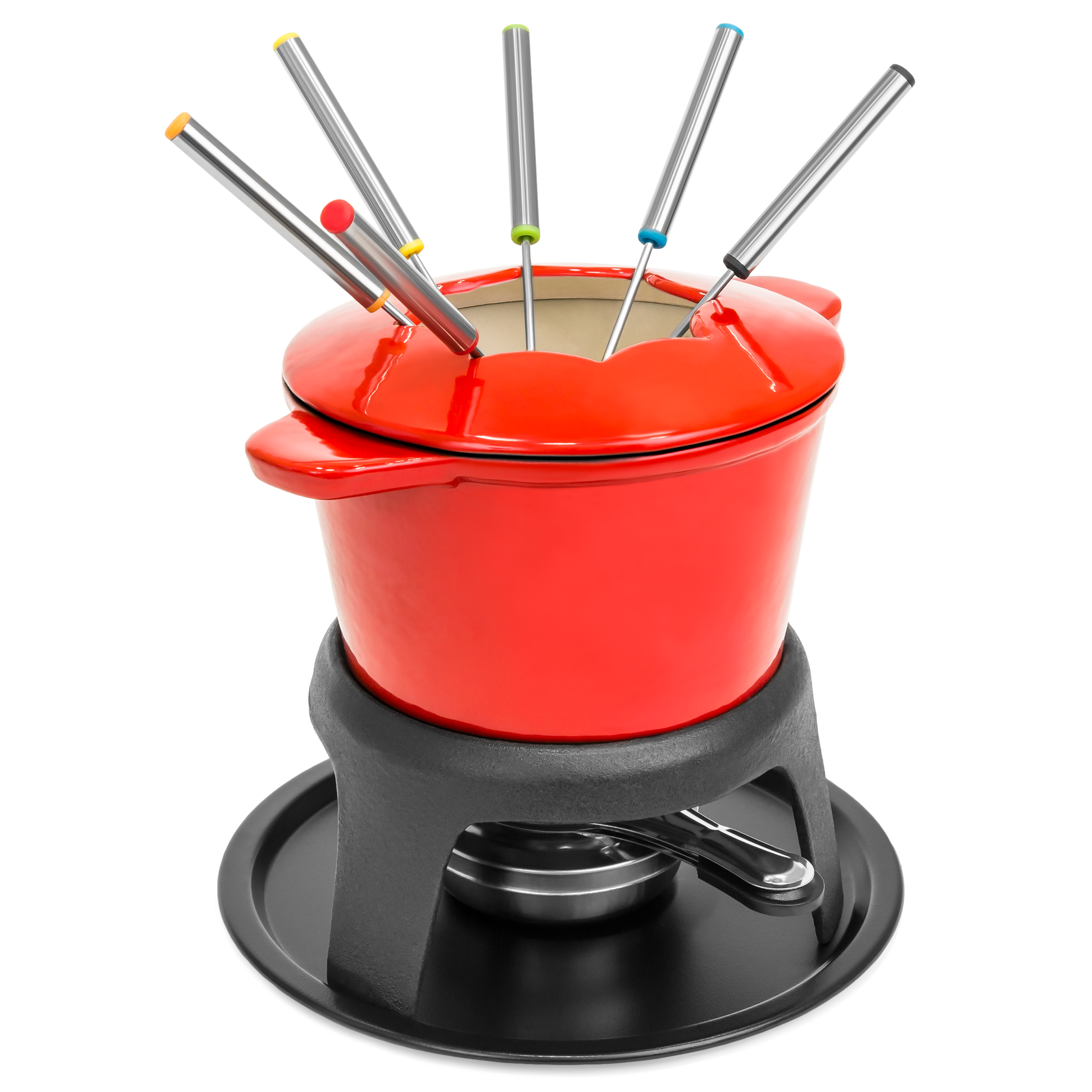 Best Choice Products Cast Iron Enamel Fondue Set w/ 6 Forks, Carrying Handles, and Splash Protector - Red