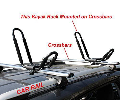 TMS J-Bar Rack HD Kayak Carrier Canoe Boat Surf Ski Roof Top Mounted on Car SUV