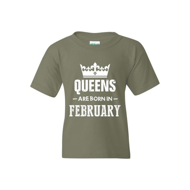 Birthday Gift Queens Are Born in February Unisex Youth Kids T-Shirt Tee
