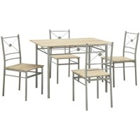 Coaster Company 5pc Metal and Wood Dinette in Brushed Silver Finish