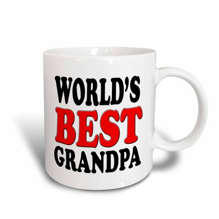 3dRose World?s Best Grandpa, Red,, Ceramic Mug,