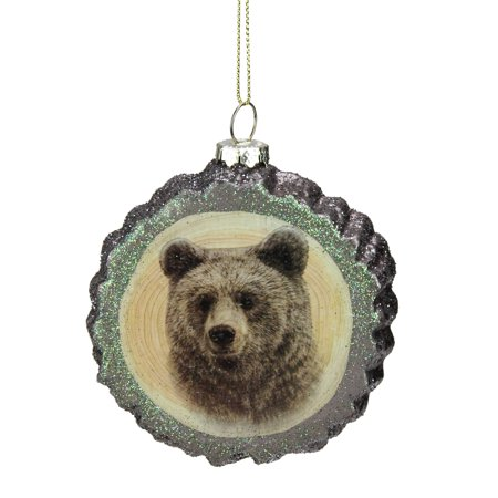 "Kurt S. Adler 4.25"" Rustic Glittered Tree Stump Bear Glass Christmas Ornament - Brown/Black"
