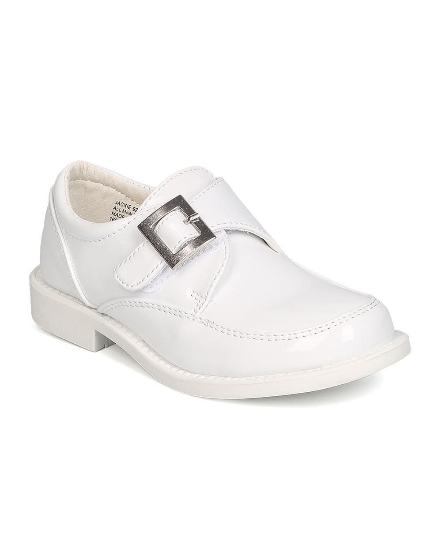 Auston GB32 Boys Patent Leatherette Single Buckle Hook and Loop Uniform Shoe (Toddler Boy / Little Boy)