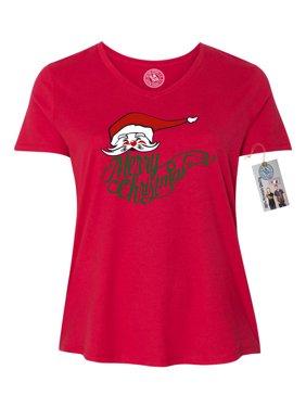 Product Image Merry Christmas Santa Plus Size Women V Neck T-Shirt 4864be182