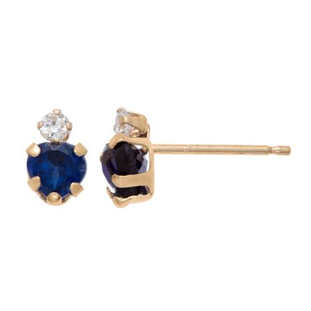 Synthetic Sapphire Earrings - .714 Carat T.G.W. Sapphire and CZ 10kt Yellow Gold Heart Post Earrings