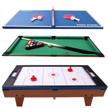 Gymax Christmas Gift Multi Table Game 3 In 1 Air Hockey Tennis Billiard Pool Table