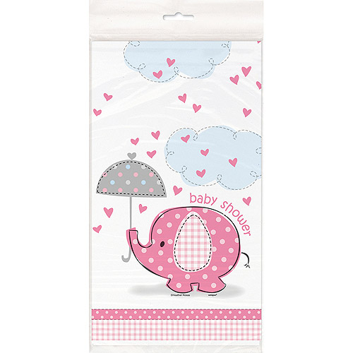 """Plastic Pink Elephant Baby Shower Table Cover, 84"""" x 54"""
