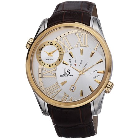 Men's Dual Time Leather Gold-Tone Strap -
