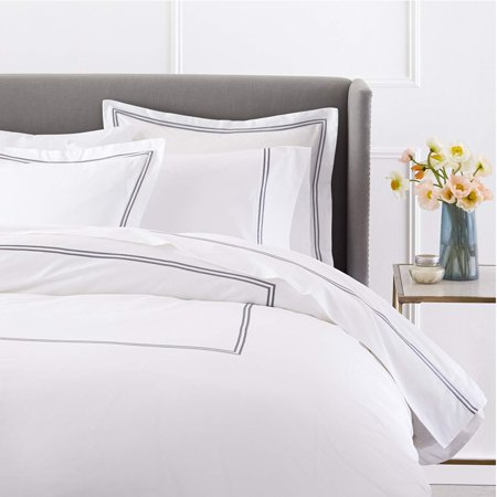 Hotel Duvet - 400-Thread-Count Egyptian Cotton Sateen Hotel Stitch Duvet Cover - Queen, Silver Gray