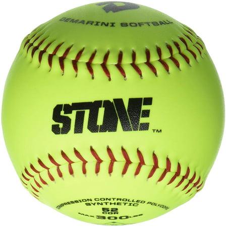 Demarini Leather Softballs (DeMarini Stone ASA Series Synthetic Leather Softball (12-Pack), 12-Inch, Optic Yellow )