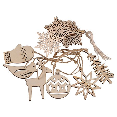 Ezakka Wooden Hanging Embellishments Crafts Ornaments Set For Wedding Valentines Day Gift Diy Christmas Tree Xmas Decorations With Strings 16 Pack