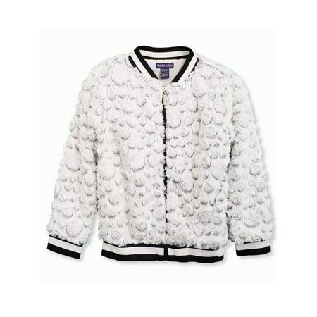 Girls Faux Fur (circle embossed faux fur bomber jacket (big)