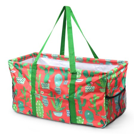 Zodaca Wireframe Utility Metal Aluminum Frame Market Tote Carry Basket for Grocery Shopping - Toto Basket