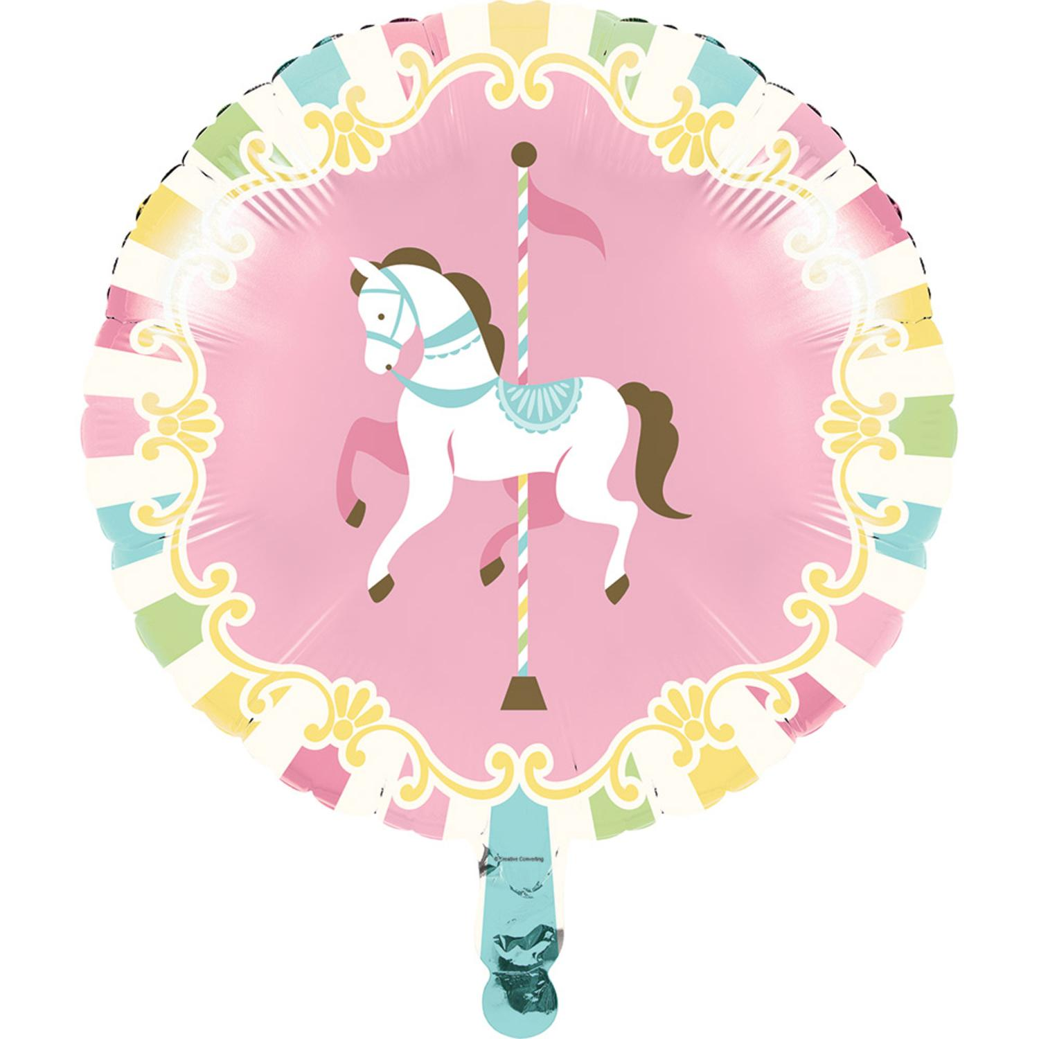 """Set of 10 Pink and White Carousel Baby Shower Themed - Metallic Balloons 18"""""""
