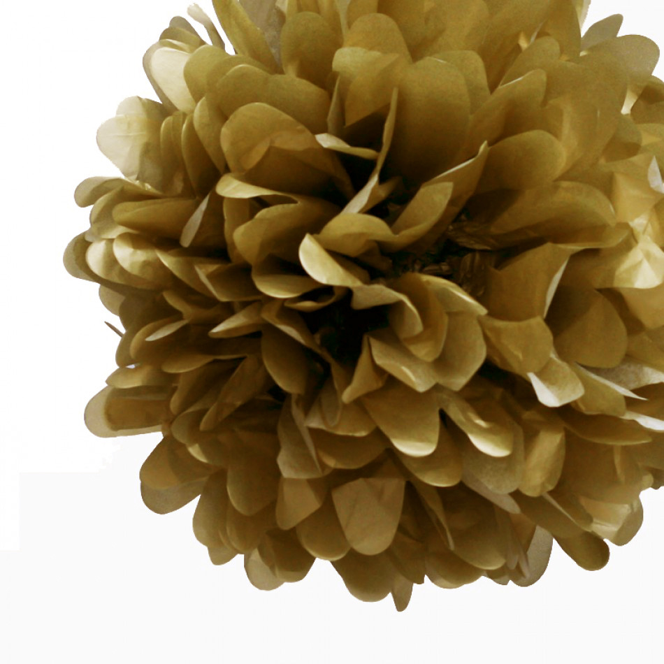 Quasimoon EZ-FLUFF 16'' Gold Tissue Paper Pom Poms Flowers Balls, Decorations (4 Pack) by PaperLanternStore