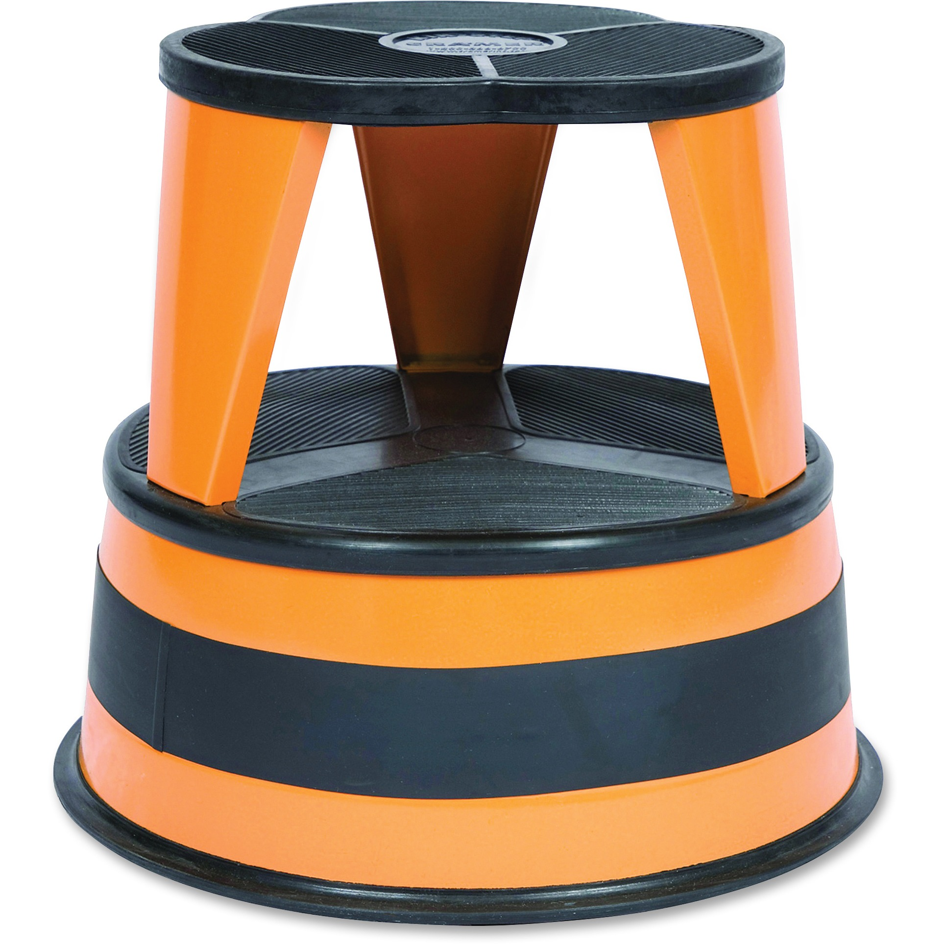 "Cramer Kik-Step Steel Step Stool, 350 lb cap, 16"" dia. x 14 1/4h, Orange"