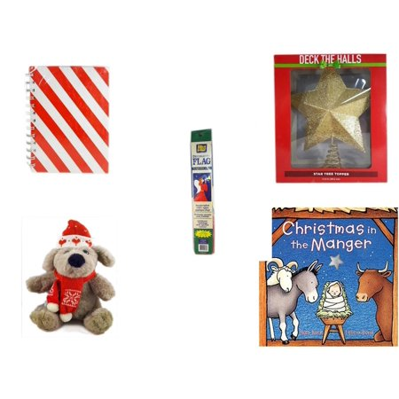 """Christmas Fun Gift Bundle [5 Piece] - Michaels Red & White Stripe Journal - Deck The Halls Gold Star Tree Topper 11.5"""" -  Trumpeting Angel Decorative Flag 28"""" x 40"""" - Soft & Cuddly  Dog Sitting  12"""""""