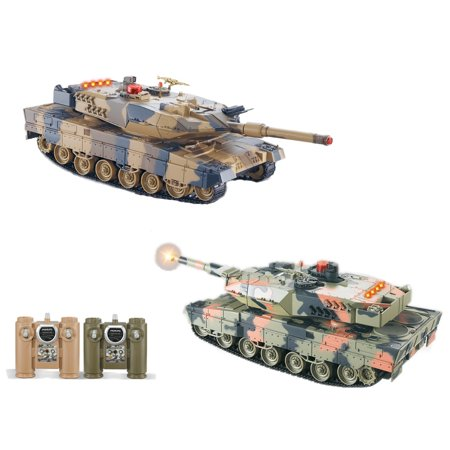 POCO DIVO 2-Set Large Infrared Battling Tanks 2.4Ghz RC German Leopard II A5 Panzer Radio Control Main Battle Tank (Panzer Tank)