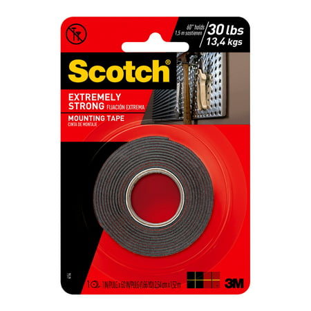 - Scotch Extreme Mounting Tape, 1 in. X 60 in., Black, 1 Roll/Pack