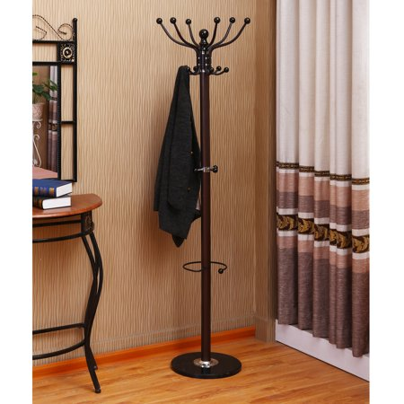 Home Source Walnut Coat Stand (Threshold Metal Coat Rack With Umbrella Stand)