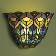 Wireless Tiffany Sconce - Glass Artistic Wall Lighting - Peacock Pattern