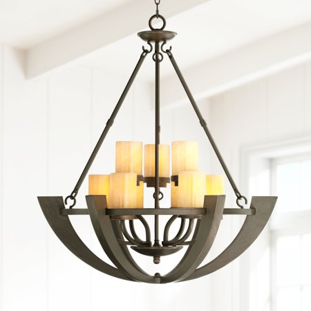 Franklin Iron Works Sunset Onyx Stone 9-Light Entry Large Candle Chandelier