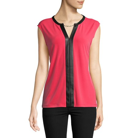 Faux Leather-Accented Top