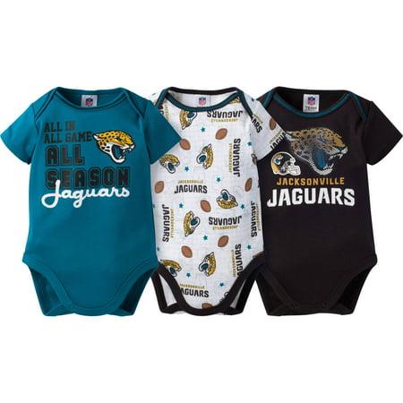 NFL Jacksonville Jaguars Baby Boys Short Sleeve Bodysuit Set, 3-Pack by