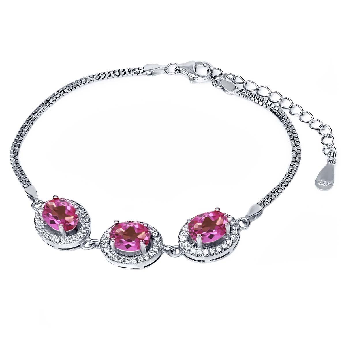 9.55 Ct Oval Pink Mystic Topaz 925 Sterling Silver Bracelet by