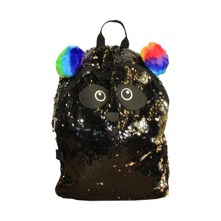 Panda Sequin Black Full Size Deluxe School Bag or Travel Backpack Full Size Zipper Compartments 16 inches with Lunch Bag (SET)