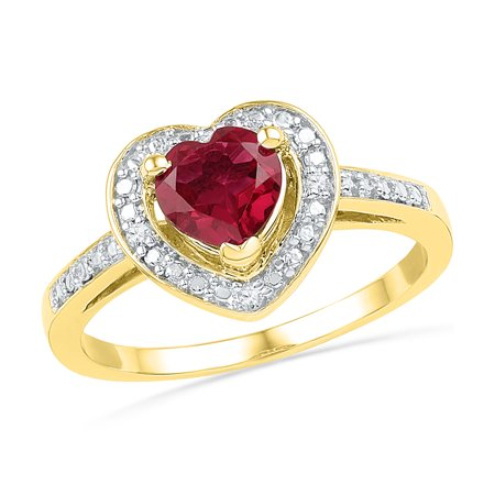 Gold Red Ruby Ring - Size - 7 - Solid 10k Yellow Gold Heart Round Red Simulated Ruby And White Diamond Engagement Ring OR Fashion Band Prong Set Solitaire Shaped Halo Ring (.03 cttw)