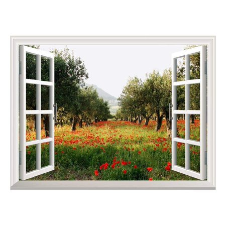 Removable Wall Sticker/Wall Mural - Poppy Fields Under Trees in a Orchard | Creative Window View Wall Decor - - Orchard Mural