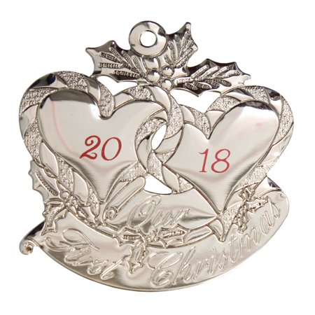 Silver-Tone Our First Christmas Hearts (Double Heart Ornament)