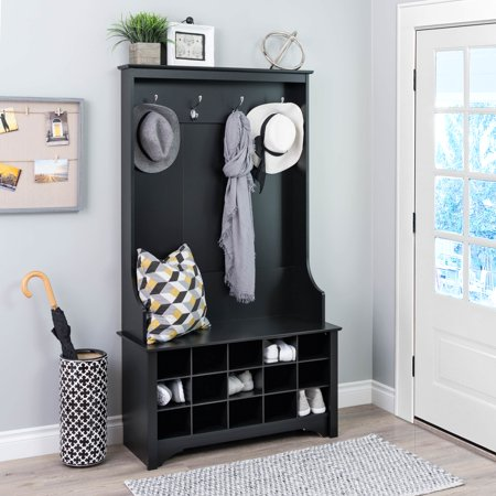 Mudroom Bench - Prepac Hall Tree with Shoe Storage, Black